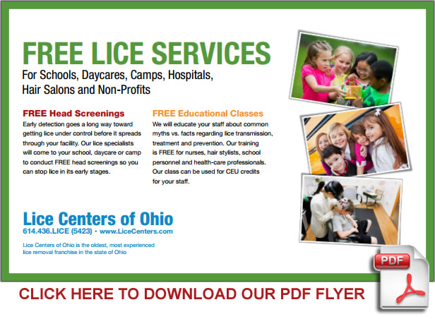 FREE LICE SERVICES for Schools Daycares Camps Hospitals Hair Salons and Non-Profits - Lice Centers of Ohio - Columbus Ohio